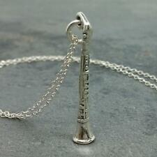 Clarinet Necklace 925 Sterling Silver - Marching Band Music Instrument Charm NEW