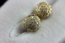 14k yellow gold .50ctw round diamond 10mm domed stud earrings estate vintage