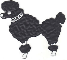 Dogs - Poodle, Black w/White-Facing Left (Med) - Iron On Embroidered Applique