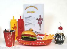 FAKE FOOD DINER CAR HOP CHEESEBURGER MEAL/FRIES W/ 60'S COKE