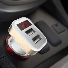 Car Voltmeter Voltage Gauge Meter Monitor+5V Dual USB Charger Cigarette Lighter