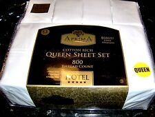 AprimA HOTEL 6 PIECE Queen White Sheet Set 800 TC    Two Extra Pillowcases NIP