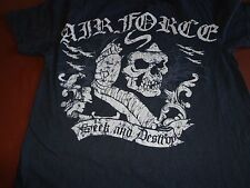 Black Ink Design  AIR FORCE   Seek and Destroy Black Small T Tee Shirt    L4