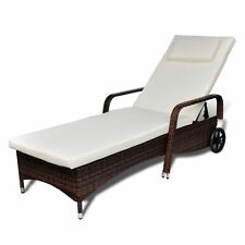 Patio Outdoor Brown Rattan & Wicker Chaise Lounge Sun Bed Daybed Sofa w/ Wheels