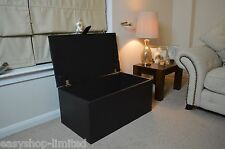 "LARGE LEATHER OTTOMAN BLACK STORAGE TOY BOX BLANKETBOX 40"" ( 102 CM ) WIDE"
