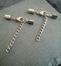 2 Sets of 13mm Stainless Steel Lobster Clasp and Crimp Ends for 4.5 to 5mm Cord