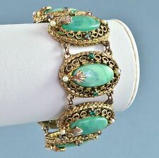 Vintage Bracelet 1960s Victorian Style Green Lucite & Crystal Goldtone Jewellery