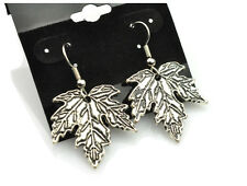 Maple Leaf Earrings Antiqued Silver Plated With Hypoallergenic Ear Wires