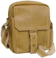 David King Distressed Leather Travel Carry On Tote Bag Luggage - Tan