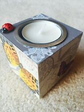Decoupage Handmade Candle Holders with butterflys decor. Rustic style.