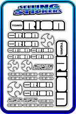 TEAM ORION ESC MOTOR BATTERY LIPO RC DRIFT STICKER DECALS 1/8 1/10 WHITE BLACK