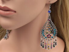 Gipsy floral vine mix colors crystal rhinestone old silver tone hook earring B42