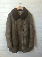 Vtg Rare Kriegsmarine German Navy WW2 U Boat Jacket Sheepskin Coat Chore Worker
