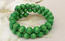 Pretty Apple Green Wooden Ball Bead Memory Wire Cuff Bracelet Bangle 2 Rows