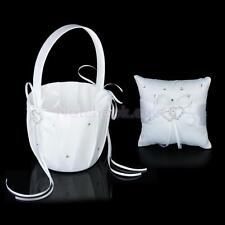 Wedding Flower Girl Basket/Pocket Ring Pillow Crystal Double Heart Decorative