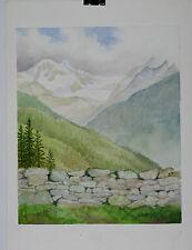 Aquarelle Valais Suisse Henri Gommers Montagne 1988