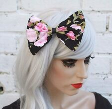 PINK ROSE BIG black HAIR BOW ROCKABILLY 1950s LAND GIRL retro floral kitsch