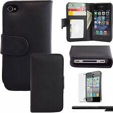 Estuche Billetera Negra Para Apple iPhone 4 4G 4S Cartera Caja Funda Protectiva