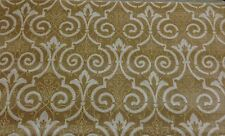 SCALAMANDRE VELOURS CHATELAINE DAMASK WHEAT CREAM LINEN VELVET FABRIC BY THE YD