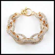 New Preppy Chunky Enamel Pave Crystal Chain Link Bracelet Bangle Rhinestone 8""
