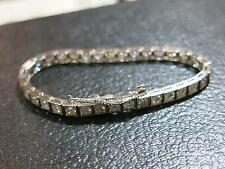 ROUND BRILLIANT NATURAL DIAMOND PLATINUM ANTIQUE TENNIS BRACELET 8.5 CARAT SHARP
