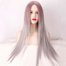 Harajuku Wig Taro Purple Gray Gradient Hair Long Straight Part Bang Fashion Wigs