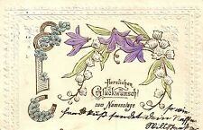 Namenstag, Blumen, Hufeisen, Prägekarte, 1903