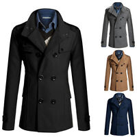 Mens Winter Warm Slim Casual Trench Coat Jacket Wool Peacoat Double Breasted Top