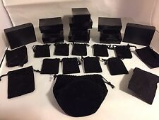 LOT 24  Mixed BLACK JEWELRY BOXES VELVET JEWELRY GIFT POUCH BAGs