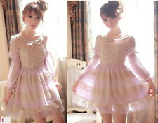 Kawaii Princess Sleeve Cute Sweet Dolly Gothic Lolita elegant Lace Dress Purple