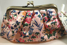The Vintage Cosmetic Company Pink Vintage Floral Print Cosmetic Clutch Bag