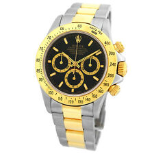 ROLEX Stainless Steel 18K Yellow Gold Daytona Cosmograph Black 16523 Warranty