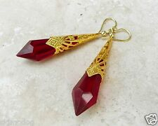 Red Garnet Chandelier Crystal Prism Gold Plated Dangle Earrings
