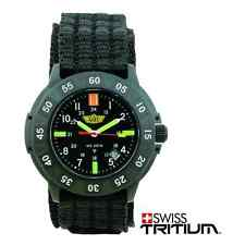 Campco UZI 001 N Bright Light Black Faced Tritium Protector Watch W/ Nylon Strap