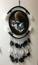 """THREE WOLFS   OVAL VELVET PAINTING , 44"""" BY 21"""" , HAND PAINTED MANDALA , SIGNED"""