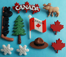 CANADA  Hockey Moose Leaf Flag Travel Canadian Dress It Up Novelty Craft Buttons