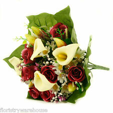 Artificial silk mixed flowers bouquet Calla Lilies Roses 40cm Burgundy / Cerise