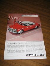 1955 Print Ad The'55 Chrysler Windsor Deluxe Nassau Tango Red & Platinum