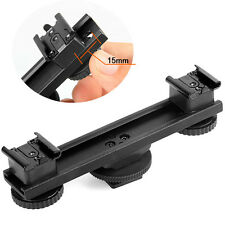 Hot Shoe Extension Bar Mount Dual Bracket For DV Video Camera LED Light SLR Rig