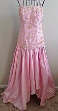 Alyce Designs Sequin Embroidered Evening Gown Dress Pageant Formal Pink Small