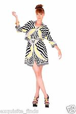 NEW VERSACE WAVE THE FLAG PRINT SILK SHIRT DRESS w/ BELT 40 - 4