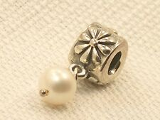 New Sterling Authentic Pandora Simple Pearl Flower Dangle Charm or Bead 790535P