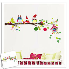 Christmas Owl Tree Cartoon Removable Wall Stickers Kids Rooms Home Decor