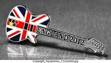 OLYMPIC PINS 2012 ENGLAND UNION JACK U.K. LONDON FLAG ROCK-N-ROLL GUITAR - SILVE