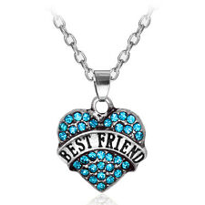 Lake Blue Rhinestones BEST FRIEND Love Heart Alloy Pendant Charm Necklace Chain