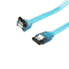 """36"""" SATA 3 III SSD/HDD Cable 6Gb/s Straight to Right Angle UV Blue Metal Latch"""