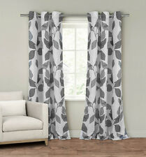 Set of Two (2)  Window Curtain Panels: Grommets, White and Gray Leaf Design
