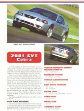 2001 Ford Mustang SVT Cobra Article + VIN Decode - Must See !!
