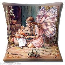 "CUTE FAIRY GIRL CUDDLING MRS. MOUSE CHILDREN'S DESIGN  16"" Pillow Cushion Cover"
