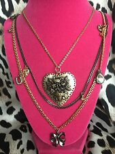 Betsey Johnson Vintage Heart Tattoo Rose Horseshoe LOVE HURTS Necklace VERY RARE